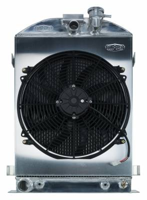 Cold Case - 1932 Highboy Ford Engine 27 Inch Aluminum Performance Radiator And 16 Inch Fan Kit Cold Case Radiators
