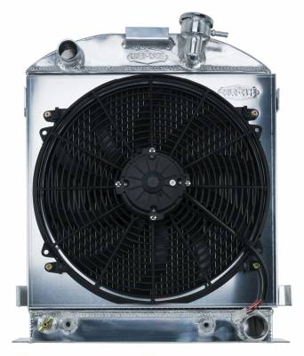 Cold Case - 1932 Lowboy Chevy Engine Aluminum Performance Radiator And 16 Inch Fan Kit Cold Case Radiators
