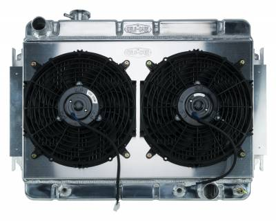 Radiators - Radiator Combos - Cold Case - 66-67 Chevelle / El Camino Aluminum Radiator And Dual 12 Inch Fan Kit AT Cold Case Radiators