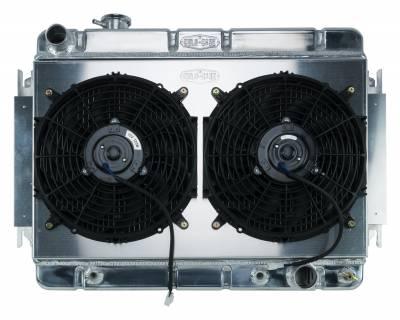 Radiators - Radiator Combos - Cold Case - 66-67 Chevelle / El Camino Aluminum Radiator And Dual 12 Inch Fan Kit AT Cold Case Radiators