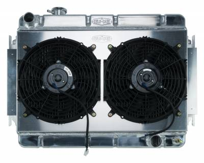 Radiators - Radiator Combos - Cold Case - 66-67 Chevelle / El Camino Aluminum Radiator And Dual 12 Inch Fan Kit MT Cold Case Radiators