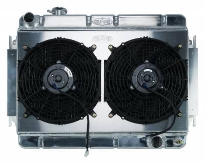 Radiators - Radiator Combos - Cold Case - 66-67 Chevelle / El Camino Aluminum Radiator And Dual 12 Inch Fan Kit MT Cold Case Radiators