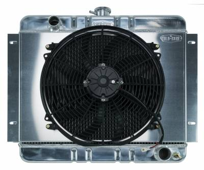 Cold Case - 62-67 Chevy Nova Aluminum Radiator And 16 Inch Fan Kit MT Cold Case Radiators