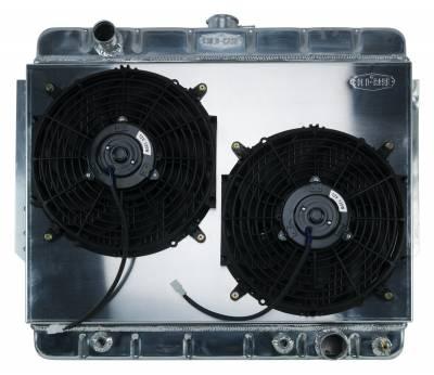 Radiators - Radiator Combos - Cold Case - 66-68 Impala Aluminum Radiator and Dual 12 Inch Fan Kit Stamped Cold Case Radiators