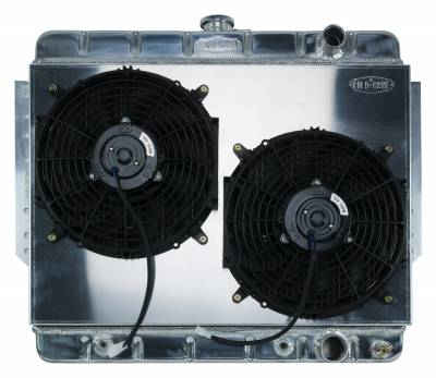 Cold Case - 61-65 Impala Aluminum Radiator and Dual 12 Inch Fan Kit Stamped Cold Case Radiators