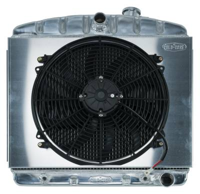 Cold Case - 55-56 Tri-5 Chevy Aluminum Radiator And 16 Inch Fan Kit 6 Cyl (Front Mount) Cold Case Radiators