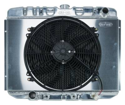 Radiators - Radiator Combos - Cold Case - 67-70 Mustang BB 24 Inch Aluminum Performance Radiator And 16 Fan Kit AT Cold Case Radiators