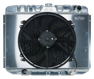 Radiators - Radiator Combos - Cold Case - 67-70 Mustang BB 24 Inch Aluminum Performance Radiator And 16 Fan Kit MT Cold Case Radiators