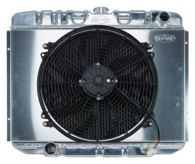 Radiators - Radiator Combos - Cold Case - 67-70 Mustang BB 24 Inch Aluminum Performance Radiator And 16 Fan Kit MT Cold Case Radiators