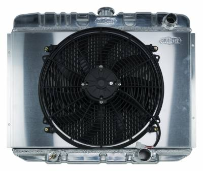 Radiators - Radiator Combos - Cold Case - 67-70 Mustang SB 24 Inch Aluminum Performance Radiator And 16 Inch Fan Kit MT Cold Case Radiators