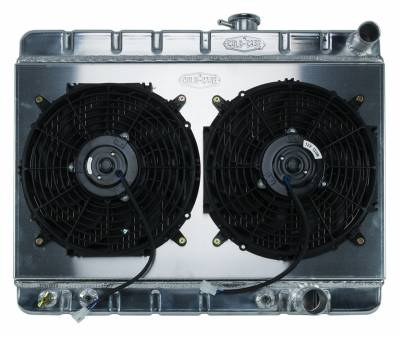 Radiators - Radiator Combos - Cold Case - 65 GTO Tri-Power Aluminum Radiator And 12 Inch Dual Fan Kit W/O AC AT Cold Case Radiators
