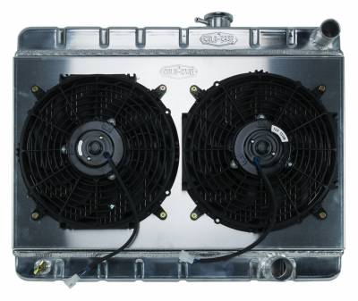 Radiators - Radiator Combos - Cold Case - 65 GTO Tri-Power Aluminum Radiator And 12 Inch Dual Fan Kit W/O AC MT Cold Case Radiators