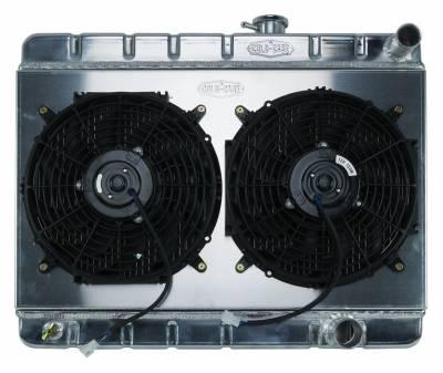 Radiators - Radiator Combos - Cold Case - 65 GTO Tri-Power Aluminum Radiator And 12 Inch Dual Fan Kit W/O AC MT Cold Case Radiators