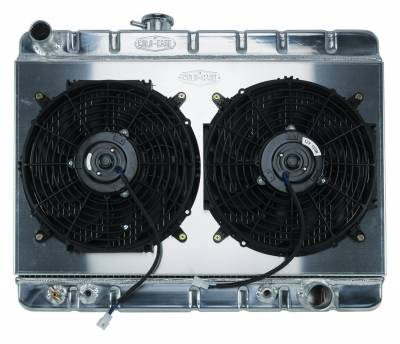 Radiators - Radiator Combos - Cold Case - 66-67 GTO Aluminum Radiator And 12 Inch Dual Fan Kit W/O AC AT Cold Case Radiators