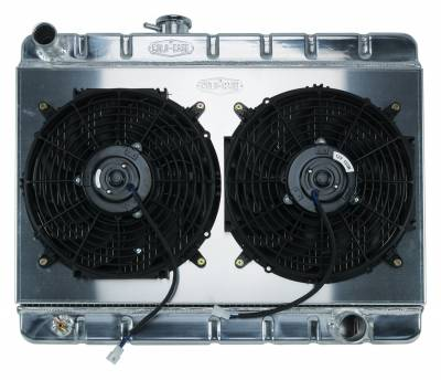 Radiators - Radiator Combos - Cold Case - 66-67 GTO Aluminum Radiator And 12 Inch Dual Fan Kit W/O AC MT Cold Case Radiators