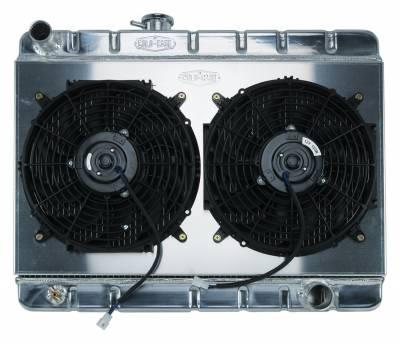 Radiators - Radiator Combos - Cold Case - 66-67 GTO Aluminum Radiator And 12 Inch Dual Fan Kit W/O AC MT Cold Case Radiators