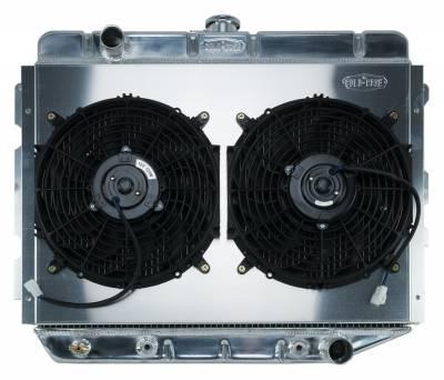 Radiators - Radiator Combos - Cold Case - 66-74 A,B,C,E Body AC Aluminum Performance Radiator And 12 Inch Dual Fan Kit AT 17x26 Inch Cold Case Radiators
