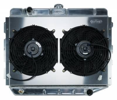Radiators - Radiator Combos - Cold Case - 66-74 A,B,C,E Body AC Aluminum Performance Radiator And 12 Inch Dual Fan Kit MT 17x26 Inch Cold Case Radiators