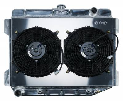 Radiators - Radiator Combos - Cold Case - 70-74 E Body Challenger Aluminum Performance Radiator And 12 Inch Dual Fan Kit AT 17x26 Inch Cold Case Radiators