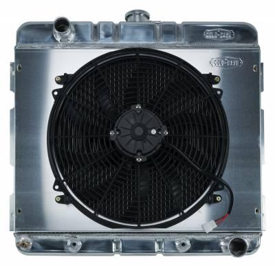 Radiators - Radiator Combos - Cold Case - 70-72 A,B Body SB Aluminum Performance Radiator And 16 Inch Fan Kit AT 17x22 Inch Cold Case Radiators
