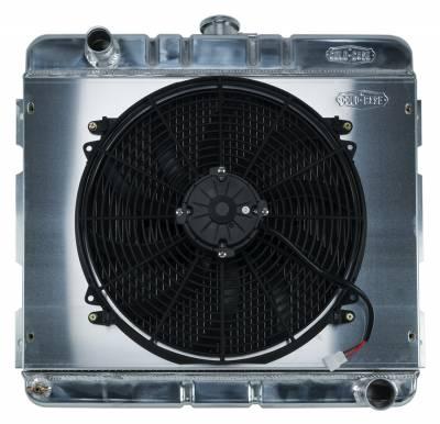 Radiators - Radiator Combos - Cold Case - 70-72 A,B Body SB Aluminum Performance Radiator And 16 Inch Fan Kit MT 17x22 Inch Cold Case Radiators