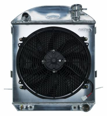 Cold Case - 24-27 T-Bucket Chevy Engine Aluminum Performance Radiator and 16 Inch Fan Kit Cold Case Radiators