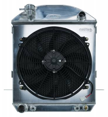 Cold Case - 24-27 T-Bucket Ford Engine Aluminum Performance Radiator And 16 Inch Fan Kit Cold Case Radiators
