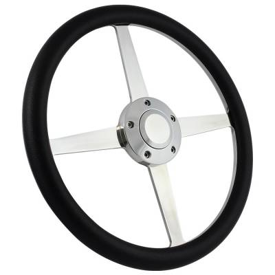 "Forever Sharp Steering Wheels - 14"" Lakester Style Billet Aluminum Steering Wheel Kit w/Your Choice of Horn and Half Wrap - Image 1"