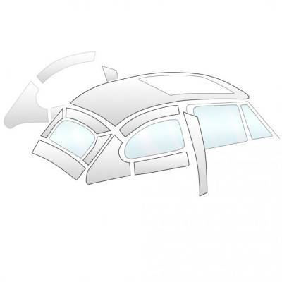 Headliners, Visors & Sailpanels - Bug, Beetle - TMI Products - Original Style Headliner w/Post, w/Sliding Sunroof, 1964-67 VW Bug Sedan with Sliding Sunroof (Black Perforated Vinyl)