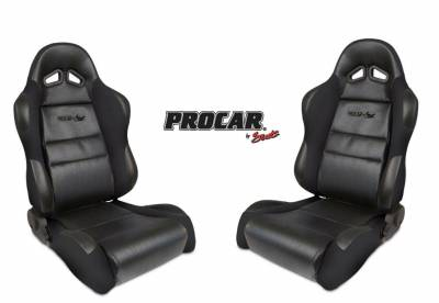 ProCar by SCAT - Sportsman Series 1605 Reclining Racing Style Suspension Seat -Black - Pair