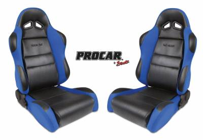 ProCar by SCAT - Sportsman Series 1605 Reclining Racing Style Suspension Seat -Black/Blue - Pair