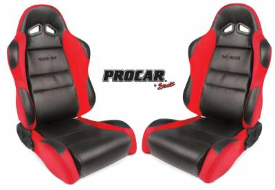 ProCar Complete Seats - Reclining Seats - ProCar by SCAT - Sportsman Series 1605 Reclining Racing Style Suspension Seat -Black/Red - Pair
