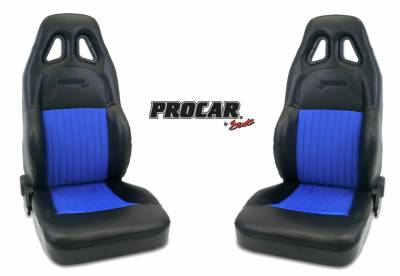 ProCar Complete Seats - Reclining Seats - ProCar by SCAT - Series 1614 Reclining Racing Style Suspension Seat -Black/Blue- Pair
