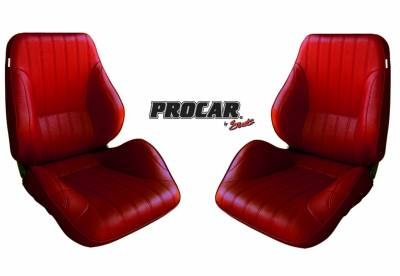 ProCar Complete Seats - Reclining Seats - ProCar by SCAT - Rally 1050 Series Reclining Lowback Seat -Red Vinyl- Pair