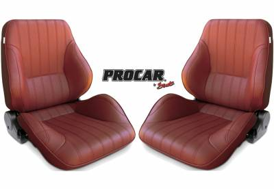 ProCar by SCAT - Rally 1050 Series Reclining Lowback Seat -Maroon Vinyl- Pair