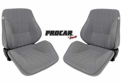 ProCar Complete Seats - Reclining Seats - ProCar by SCAT - Rally 1050 Series Reclining Lowback Seat -Gray Velour- Pair