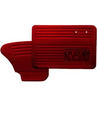Red door panel set with pockets