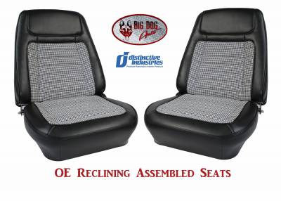 Ready To Install Seats - Distinctive OE Reclining Assembled Seats - Distinctive Industries - 1968 Camaro Deluxe Houndstooth OE Reclining Front Bucket Seats