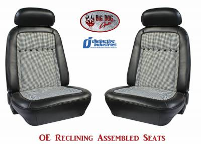 Ready To Install Seats - Distinctive OE Reclining Assembled Seats - Distinctive Industries - 1969 Camaro Deluxe Houndstooth OE Reclining Front Bucket Seats
