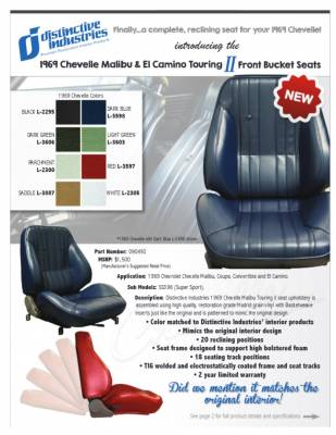 Distinctive Industries - 1969 Chevelle & El Camino Touring II Front Bucket Seats Assembled - Image 6