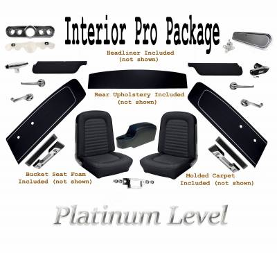 Door and Quarter Panels - Standard Mustang Panels  - TMI Products - Interior Kit Platinum Pro Package (Black) 1966 Mustang Fastback
