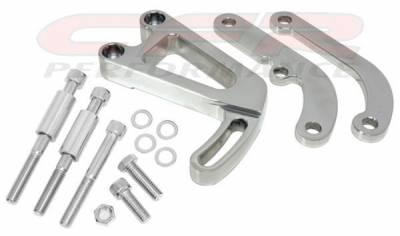 Engine - Pulleys & Brackets - CFR - Power Steering Bracket Set for Chevy Small Block w/Long Water Pump Black Billet Aluminum