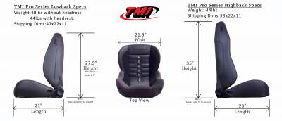 TMI Products - TMI Pro Series Sport R High Back Bucket Seats for Charger - Image 5