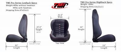 TMI Products - TMI Pro Series Sport R High Back Bucket Seats - Universal - Image 5