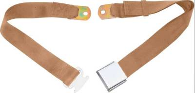 Interior Accessories - Seat Belts - OER - 2 Point Tan Lap Seat Belt, Airplane Buckle, Pair