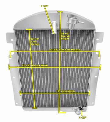 Radiators - Aluminum Radiators - Champion Cooling Systems - 1937 Chevy Pick Up Truck w/Inline Six Champion Three Row Radiator CC3738