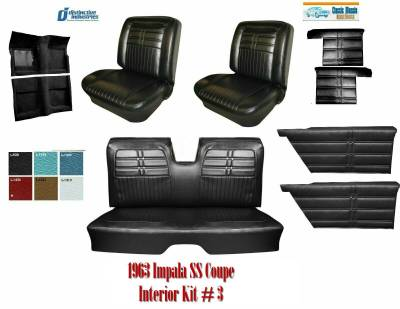 Distinctive Industries - 1963 Impala Convertible SS Seat Upholstery, Carpet & Panel Package 3 - Image 1